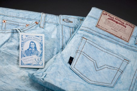The Strength of Denham - Sir John Denham Jeans and Imitation Denhams, 2004, color pencil on mulberry paper, machine stitched, letterpress label, 16 x 42 inches